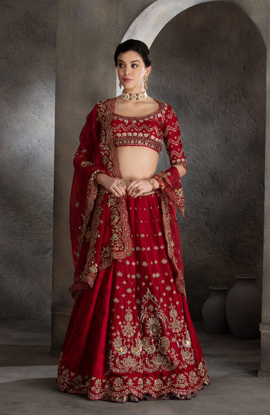 Beautiful maroon zardozi embroidered lehanga set (LS-16/LS-26/KD-84)