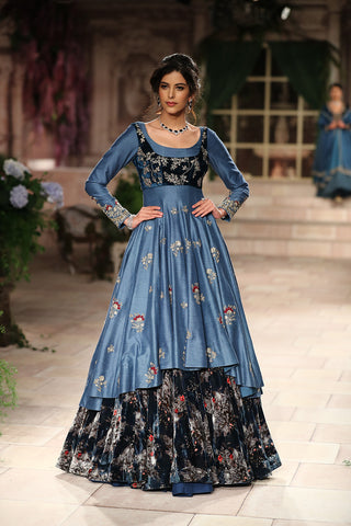 Embroidered Blouse With Dress And Circular Skirt JP-12