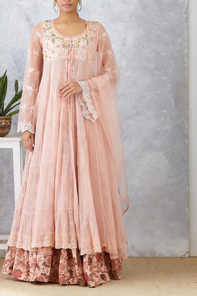 Blush Dabka Embroidered Floral Anarkali Set (JP-30)