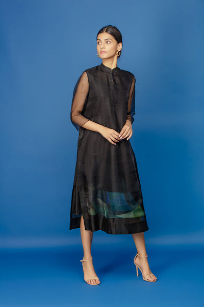 Digital Print Shift Dress - Black