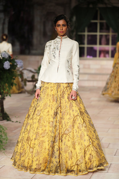 Zardozi Embroidered Peplum Blouse And Circular Skirt JP-43
