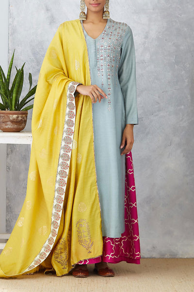 Exquisite Marine Blue Embroidered Kurta Set ( ANM-10A )