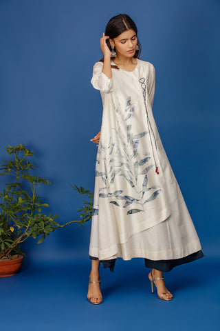 Leaf Printed Angrakha Kurta With Full Back & Front Print. Ivory