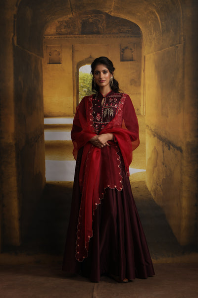 Tree Of Life Inspired Embroidered Anarkali Set (MP-03/Wine)