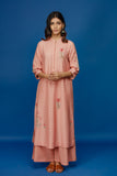 EMBROIDERED JACQUARD KURTA WITH FLARED PALAZZO. OLD ROSE (BNS-04A)