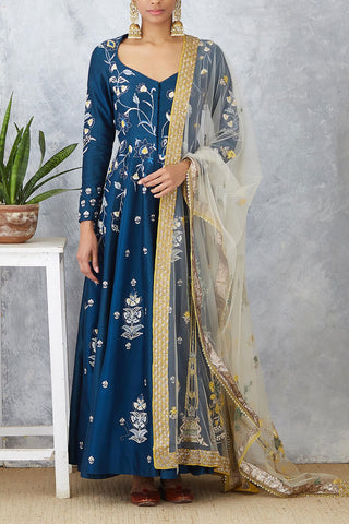 Attractive Blue Embroidered Chanderi Anarkali Set ( SK-02 )