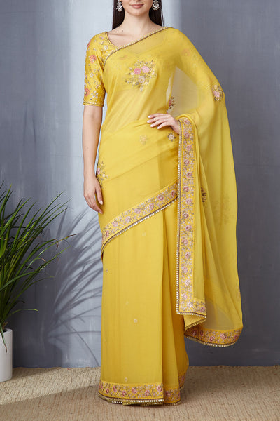 Delectable Yellow Thread And Sequince Work Saree Set ( BGH-06A )