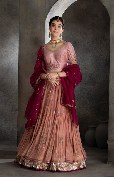 Old rose tissue gota embroidered tiered lehanga set (MH-04B)