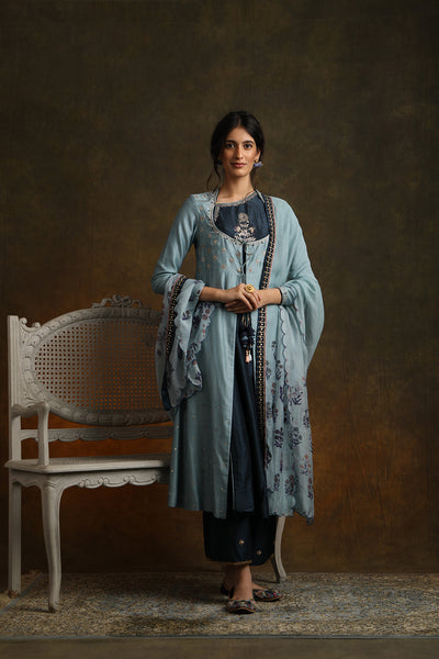 Marori Embroidered Double Layered Kurta With Palazzo & Printed Dupatta (YMN-22)