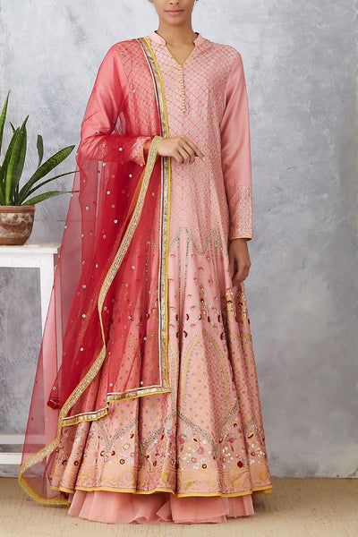 Delectable Old Rose Embroidered Anarkali Set ( KA-12 )