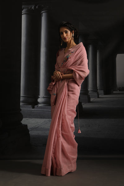 Floral Boota Embroidered Saree Set With Belt ( EM-05A/PINK )