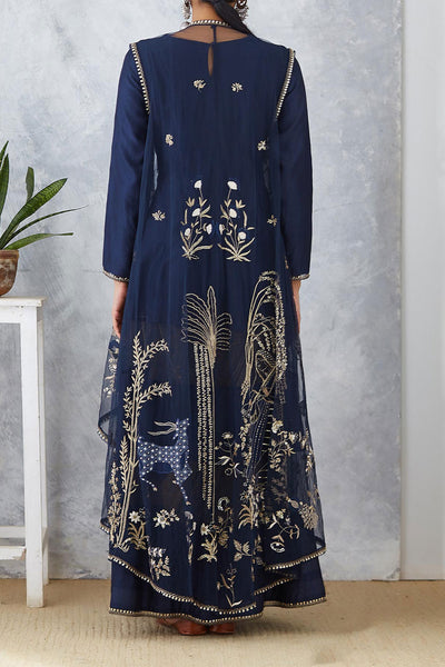 Stunning Navy Blue Anarkali With Embroidered Cape ( SK-09 )