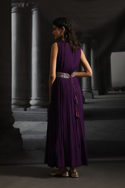 Clean Finish Long Dress With Embroidered Belt ( EM-08A/PURPLE )