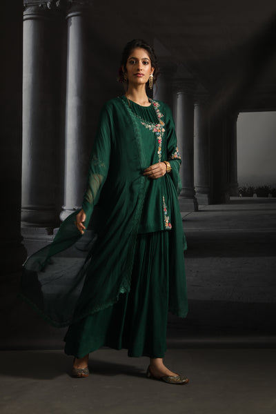Angrakha Style Embroidered Dress Set ( EM-08/EMERALD GREEN )