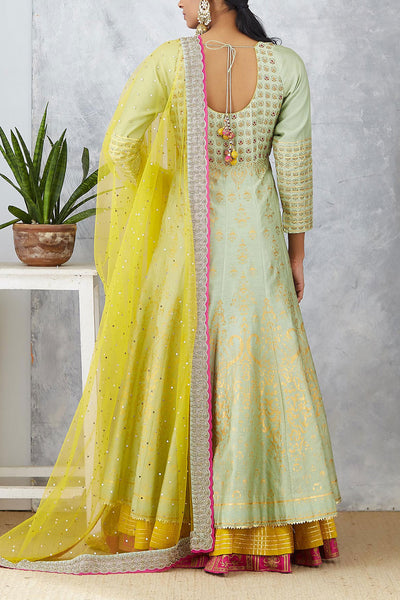 Fascinating Mint Gold Foil Printed And Embroidered Anarkali Set ( KAF-19A)