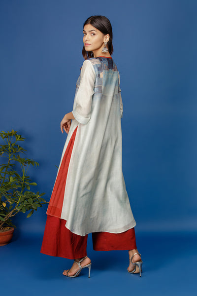 Floral & Abstract Printed Kurta With Trim On Neck Line. Ivory