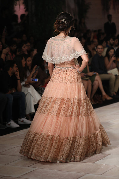 Embroidered Blouse And Tiered Skirt JP-35