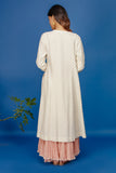 EMBROIDERED JAAL KURTA WITH DUAL COLOUR CRINKLE SKIRT & DUPATTA. IVORY & OLD ROSE  (BNS-07A)