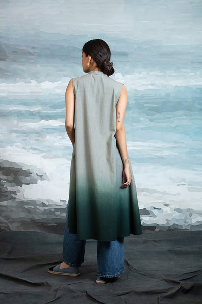 FRONT OPEN CAPE IN SHADED TEAL ANT-04A