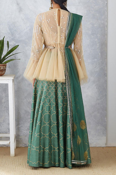 Fascinating Green Embroidered Lehenga Set (ANM-03 )