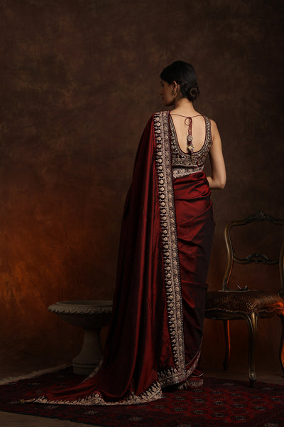 Silk Saree With Zardozi Work Blouse (YMN-25)