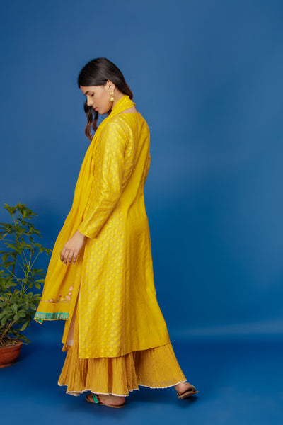 EMBROIDERED JAAL KURTA WITH DUAL COLOUR CRINKLE SKIRT & DUPATTA. YELLOW & IVOR (BNS-07A)
