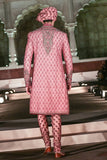 Old Rose Heavy Zardozi Embroidered Achakan Set (ALM-10)