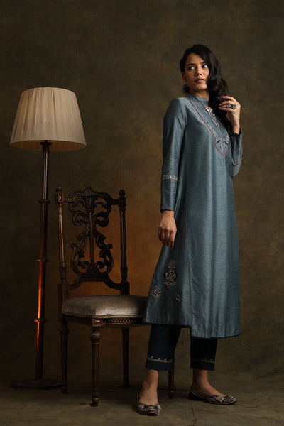 Smokey Blue Elegant Embroidered Kurta With Straight Pants (YMN-02)