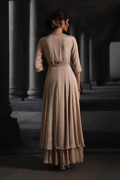 Double Layered Embroidered Dress (EM-06/CHAMPAGNE)