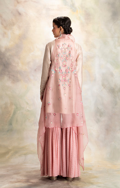 Graceful Toosh Embroidered Short Kurti with Sharara & Cape  (KK-19B)