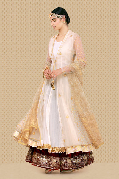 Graceful Cutwork  Jacket, Crinkled Kurta, Izhaar & Dupatta Set