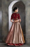 Metallic brocade maroon and gota detailing lehenga set (LS-16)