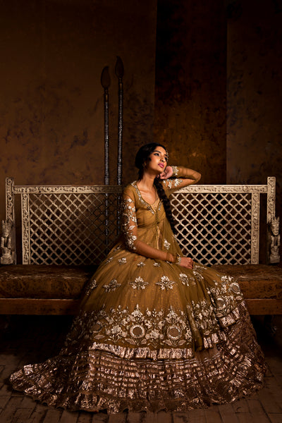 Spectacular & Majestic Embroidered Kalidar Jacket, Anarkali, Izhaar & Dupatta Set