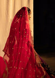 A red lotus weave silk brocade lehenga (LS-14)