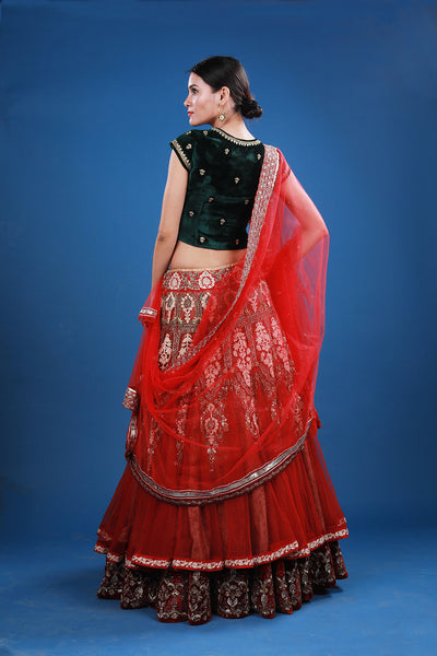 Zardozi And Wool Embroidered  Lehenga