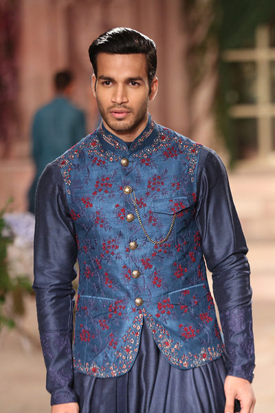 Teal Embroidered Waist-Coat Set (JPM-09)