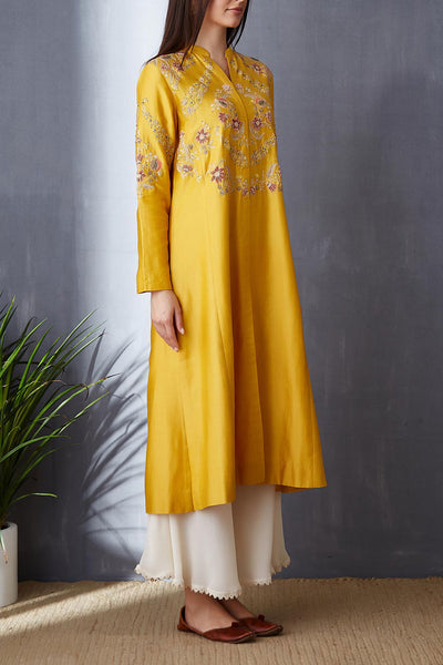 Graceful Yellow A-line Kurta With Palazzo ( BGH-10A )