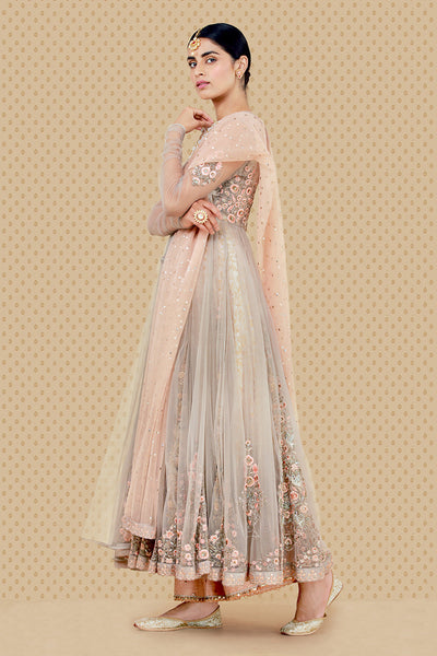 Bewitching Embroidered Anarkali, Kurti, Izhaar & Dupatta Set