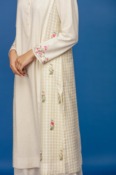EMBROIDERED KURTA WITH FRONT PLACKET & FLARED PALAZZO. IVORY (BNS-05A)