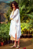 Ivory Vanilla Printed & Embroidered Pin tucks Detailing Kaftan Set (HB-04A)