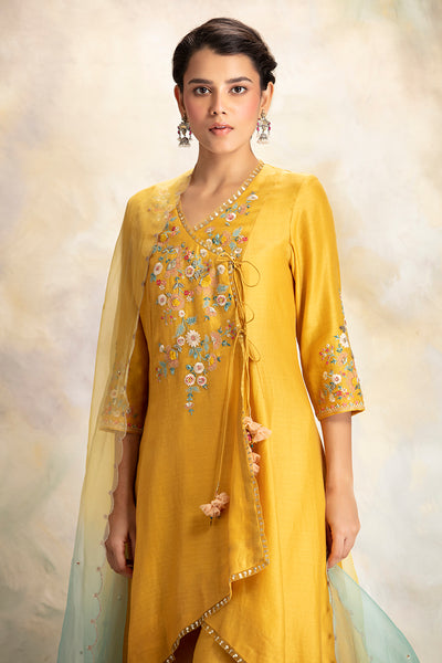 Multicolour Floral Motifs Embroidered Yellow Kurta set (KK-09B)