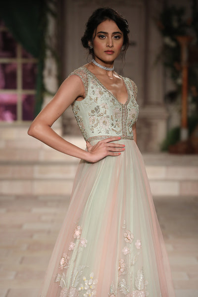 Mint Net Embroidered Dress
