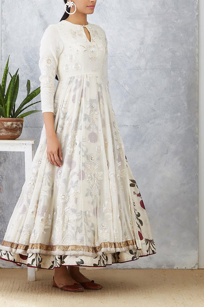 Delicate Ivory Embroidered Side Slit Anarkali With Printed Skirt (  SK-03 )