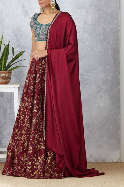 Beautiful Ruby Embroidered & Printed Lehenga Set ( JP-22 )