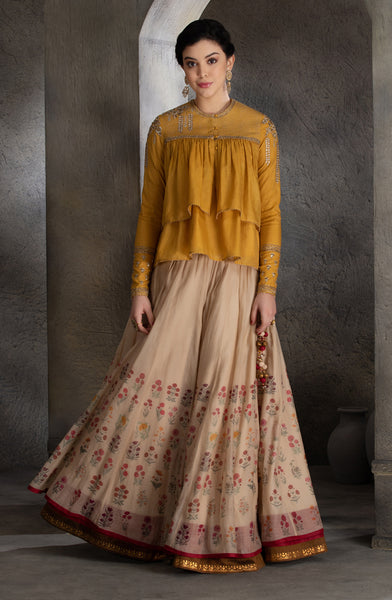 Yellow gota detailed embroidered  kedia with skirt (MH-06B)