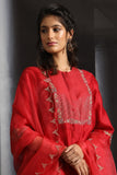 Asymmetrical Embroidered Kurta Set ( EM-01/RED )