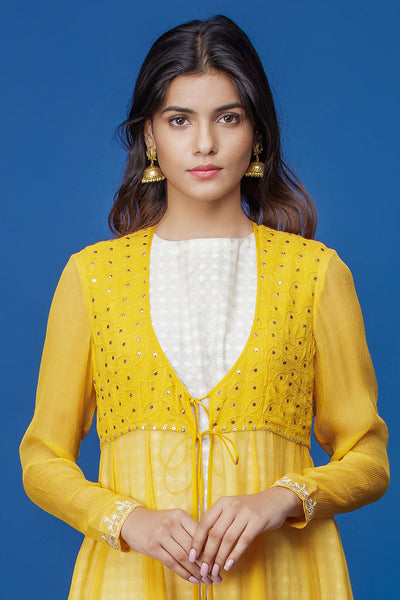 Elegant Yellow Chikankari Embroidered Anarkali Set ( INY-29B )