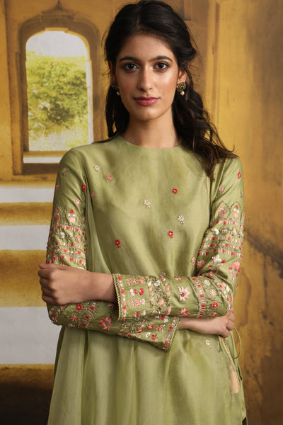 Floral Booti Embroidered Drape Kurta With Straight Pant (MP-04/Olive)
