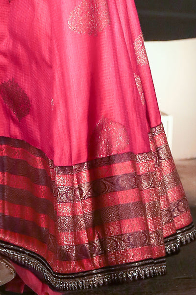 Beautiful Magenta Brocade Lehenga Set ( KZ-06 )