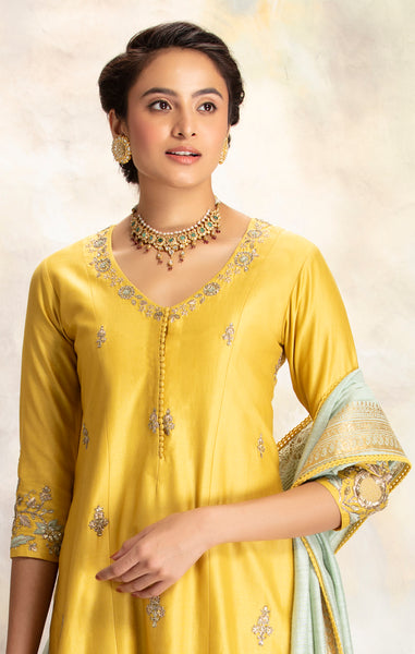 Attractive Yellow Zardozi Embroidered Straight Kurta With Sharara & Dupatta (BRM-30S)